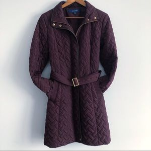 Cole Haan Plum Signature Quilted Zip Front Coat